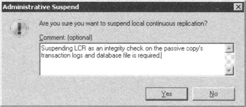 Suspending Local Continuous Replication.