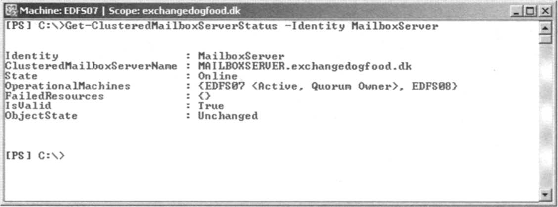 Requesting the Online Status of the Clustered Mailbox Server