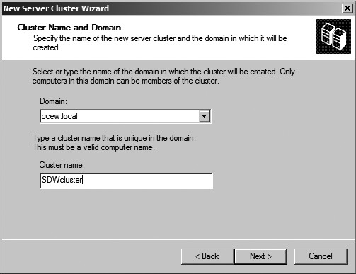 Figure 18: New Server Cluster Wizard.