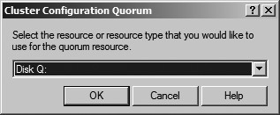 Figure 25: Click on the Quorum button to make sure the right disk have been assigned to the quorum.