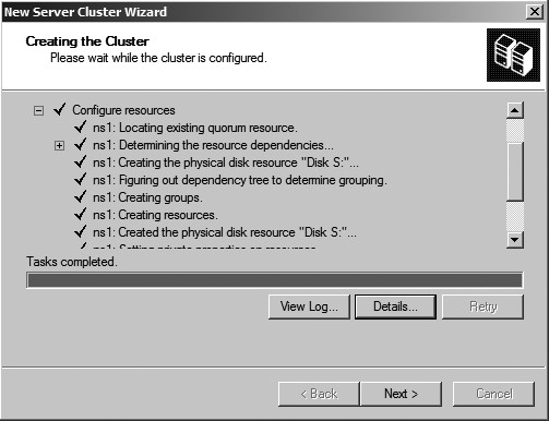 Figure 26: Completed cluster configuration.