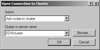 Figure 27: The Open Connection to Cluster window.