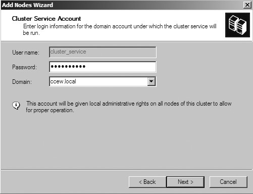 Figure 29: The Cluster Service Account window.