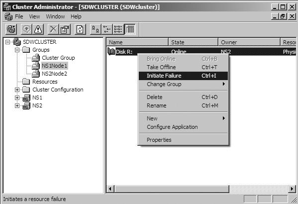 Figure 31: Simulate a failover.