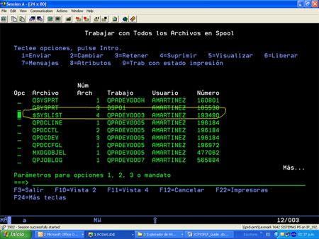 iSeries XCPYSPLF example screenshot