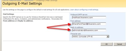 SharePoint Outgoing Email Settings