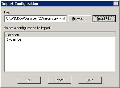 Exchange virtual directory in the Import Configuration dialog box