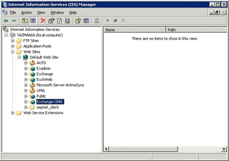 IIS Manager console lists Exchange virtual directories
