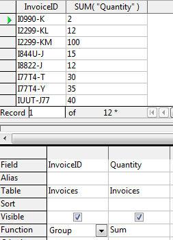SUM total per invoice