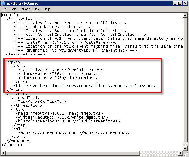 Manipulating VMware log file space via log file rotation settings