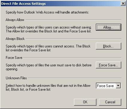 Exchange Server 2007 OWA direct file access setting