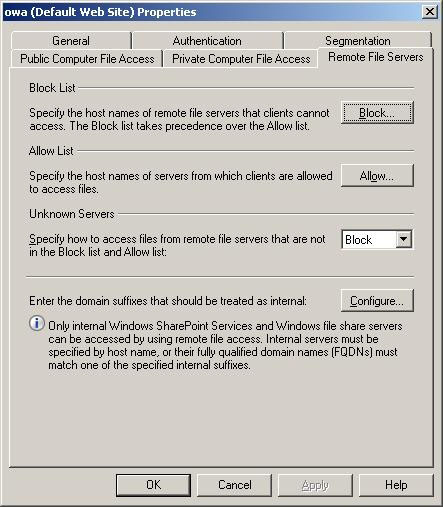 Exchange Server 2007 OWA remote file servers