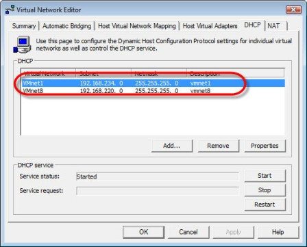 VMnet1 selected under the DHCP tab of Virtual Network Editor