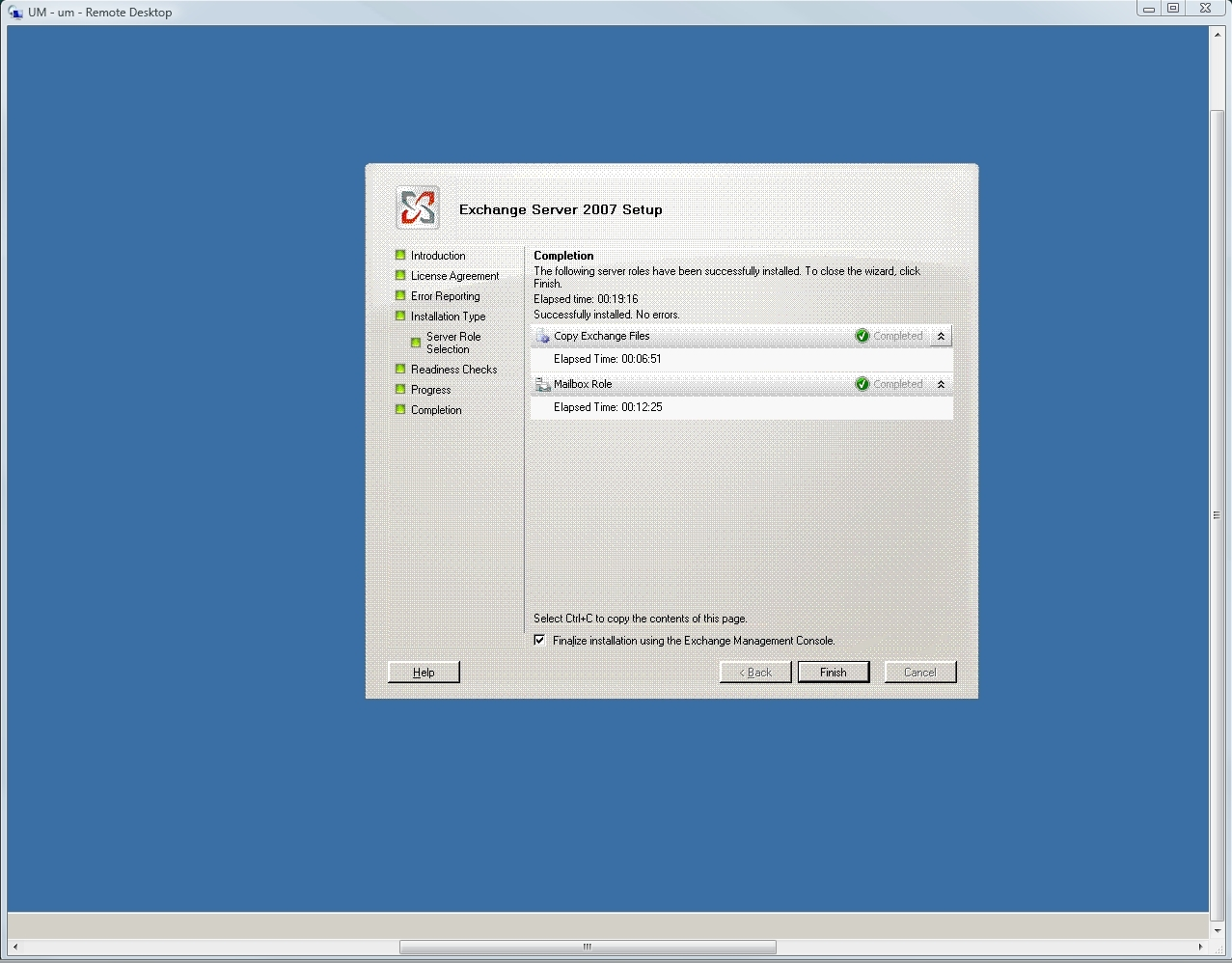 Finalize Exchange Server 2007 installation