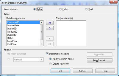 insert database columns