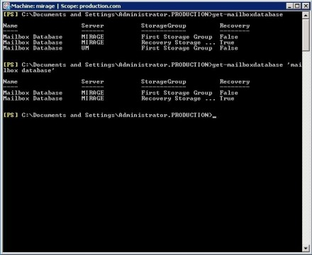 Exchange Server 2007 Exchange Management Shell Get-MailboxDatabase command