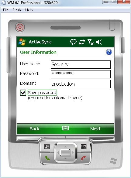 Exchange ActiveSync user information screen