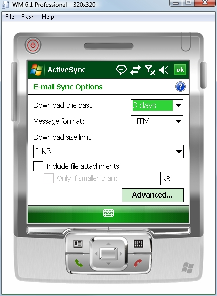 Exchange ActiveSync email sync options screen
