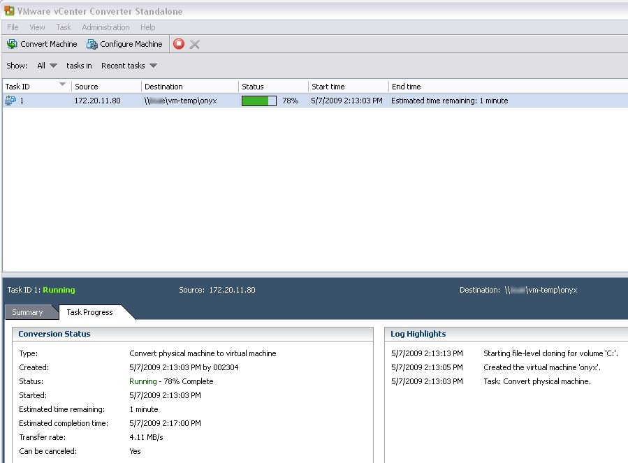 Converting a physical server into a VMware ESXi virtual server