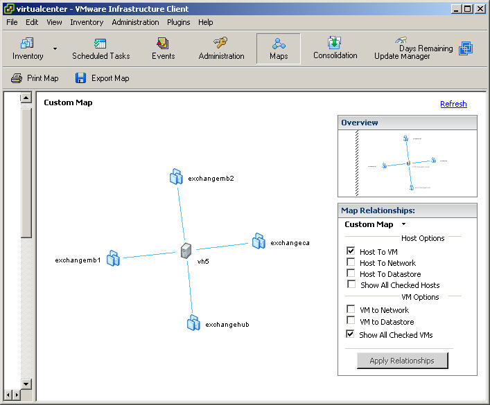 Using VirtualCenter maps to display VMware Infrastructure relationships