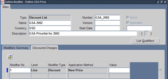Working with GSA price lists