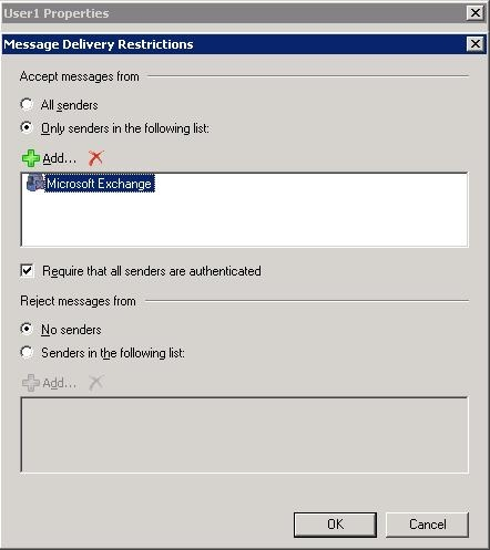 Exchange server message delivery restrictions for the journaling mailbox