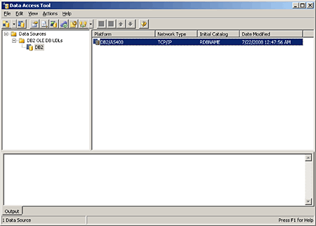 This screen shows how the data access tool should appear after creating the linked server.