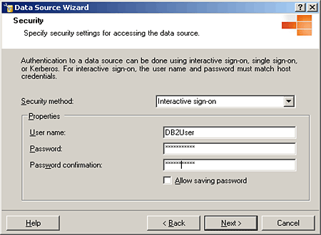 Enter username and password for linked server to DB2.