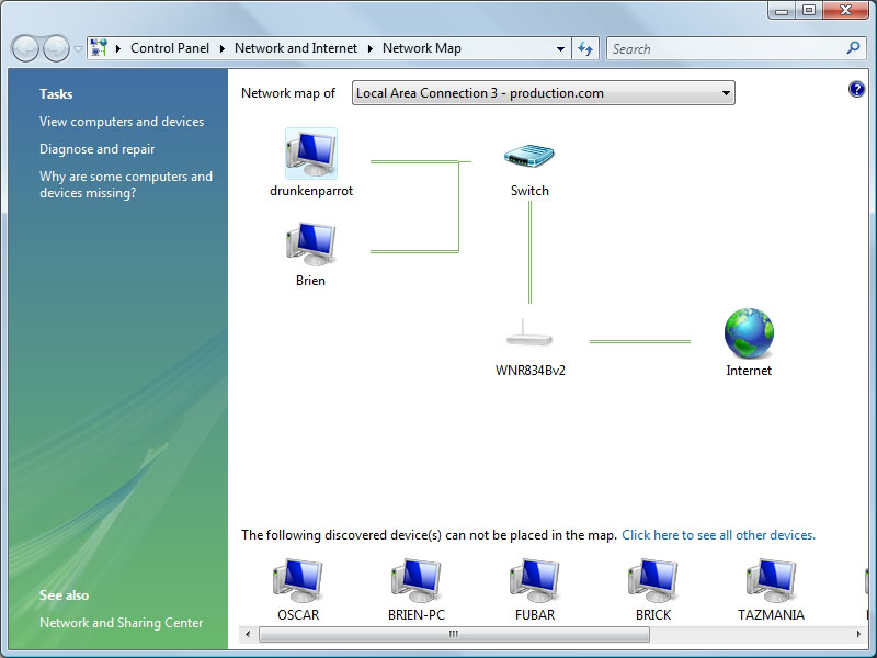 Network Mapping In Vista For Windows XP - Network map page