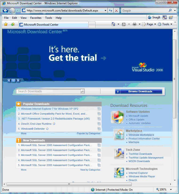 Try the Microsoft Download Center -- now powered by Silverlight