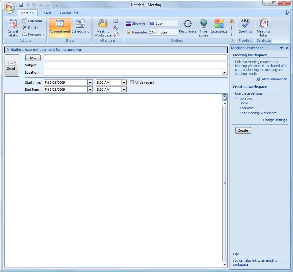 Creating meeting workspaces in moss 2007 and outlook 2007 for How to open an outlook template