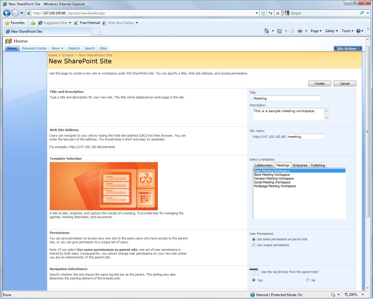sharepoint 2007 site templates - creating meeting workspaces in moss 2007 and outlook 2007