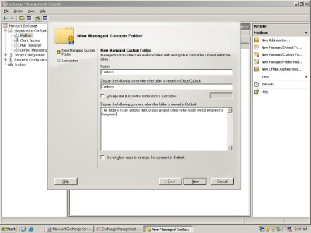 Create Exchange 2007 managed folders