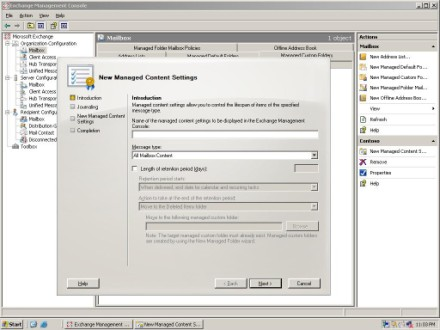 Apply limits to Exchange 2007 managed folders