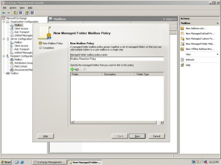 Exchange 2007 Manged Folder Mailbox Policy