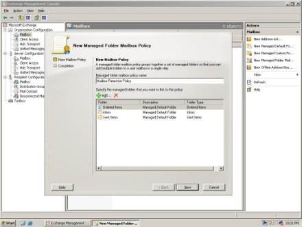 Select Exchange 2007 managed folders