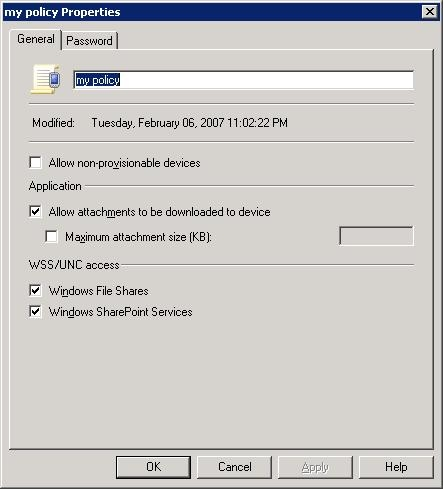 Configuring options on the ActiveSync Mailbox Policy properties sheet