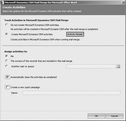 Figure 7.16: Microsoft Word Mail Merge Create Activities options