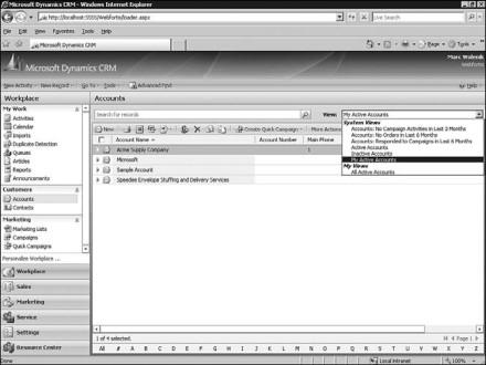 Figure 7.25: Microsoft Dynamics CRM Accounts
