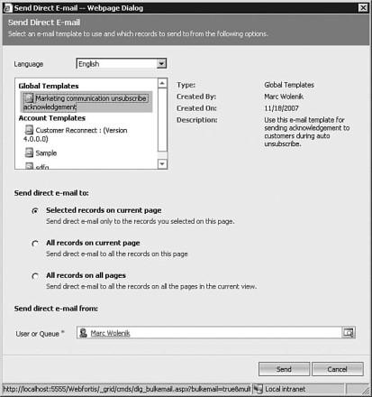 Figure 7.45: Microsoft Dynamics CRM's e-mail templates