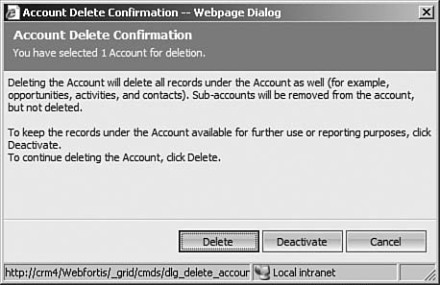 Figure 7.5: Microsoft Dynamics CRM confirm record deletion dialog box