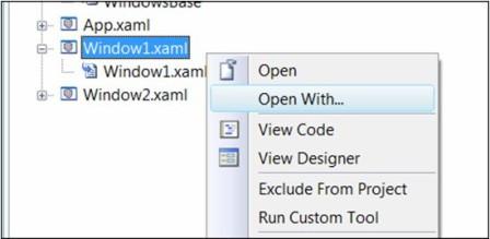 open with XAML
