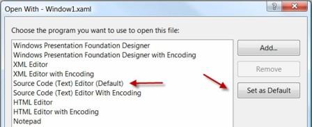 open with XAML text editor