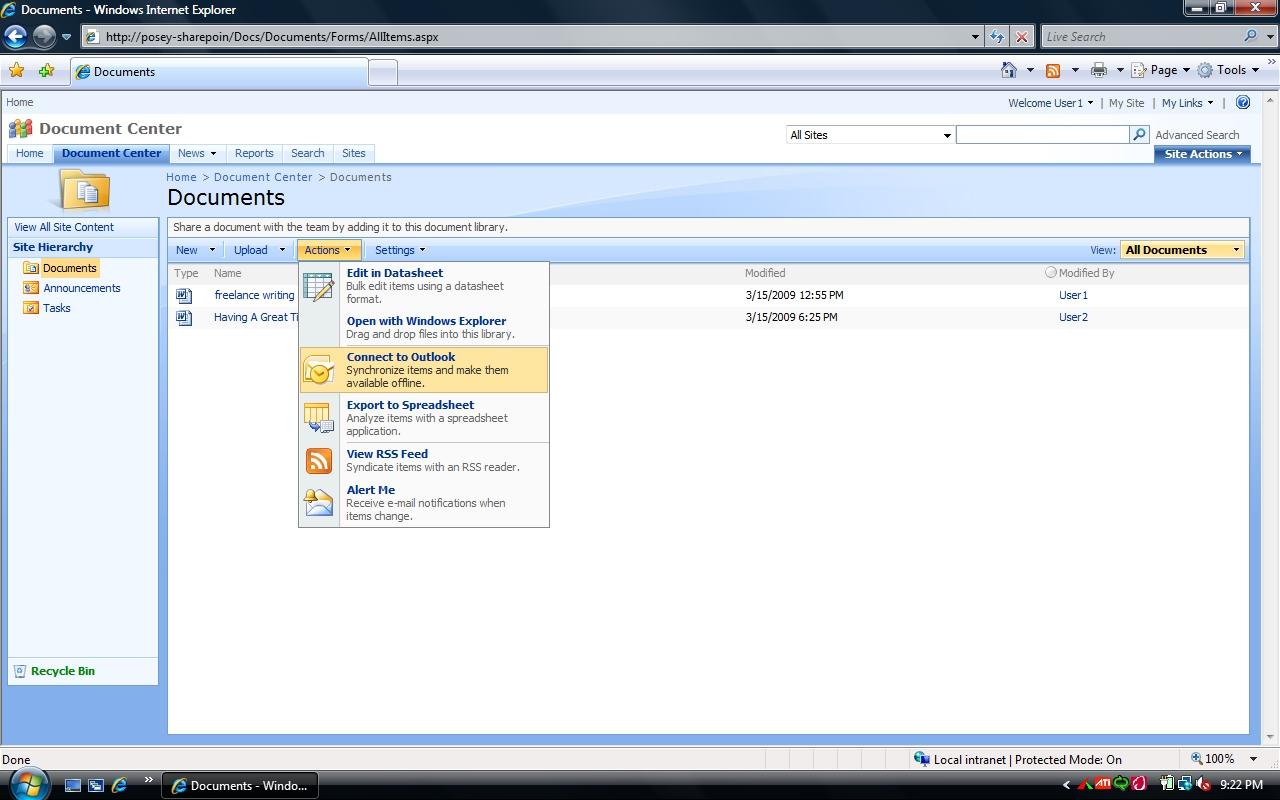 Opening microsoft sharepoint document libraries in outlook for Document library name sharepoint