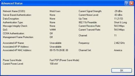 QoS and Power Save Mode values in Cisco client's Status