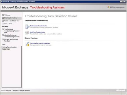 Troubleshooting Task Selection Screen