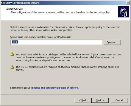 Security Configuration Wizard Select Server option