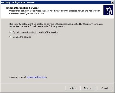 Exchange 2007 Security Configuration Wizard unspecified services