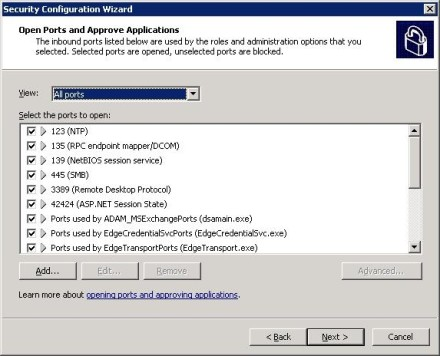Configure Exchange 2007 Security Configuration Wizard to open ports
