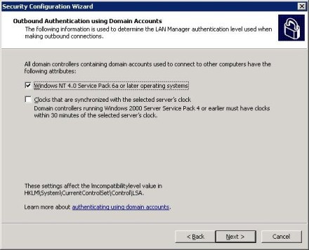 Exchange 2007 Security Configuration Wizard outbound authentication with Domain Accounts